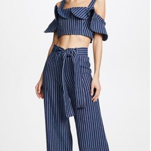 NEW ALEXIS Navy Striped Denim Cade Pants